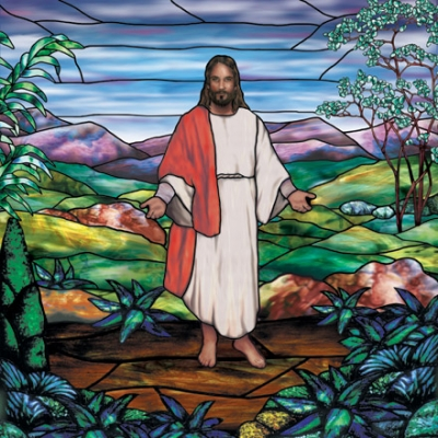 Jesus christ mural as interior design decoration of for Christian mural